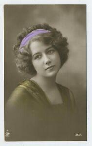 Beautiful Young Girl Wearing Hair Band Real Photograph Postcard B6