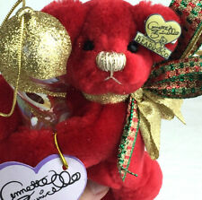 Annette Funicello plush bear Christmas ornament glass icicle red gold tags E3