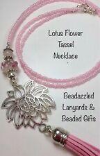 Beaded Tassel Pendant Necklace,Lotus Flower Necklace L43