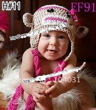 Baby Kids Girls Boys Crochet Warm knit Beanie Monkey headband hat Cap 0-1.5yr