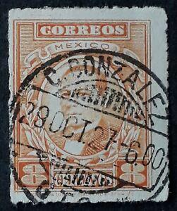 1927 Mexico 8c orange President Garcia postage stamp C Gonzalez cds