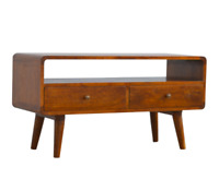 Solid Dark Wood Scandinavian Style Media TV Unit with Rounded Edges