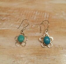 Turquoise Small Flower 925 Sterling Silver Earrings Jewellery Next Day Post