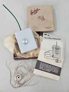 "Vtg 1955 Hastings ""FM Jr"" Pocket Radio ~Box & Instruction Booklet ~Mini Tubes"