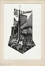 ex libris Bookplate City with old buildings Russian artist Anatoly Kalashnikov