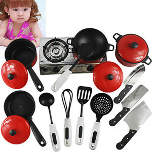 Kid Play House Wooden Toy Kitchen Utensil Cooking Pots Pans Food Dishes Cookware
