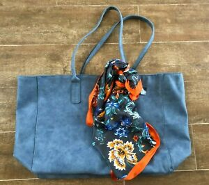 Saks Fifth Avenue Faux Suede blue purse tote bag & silk scarf floral botanical
