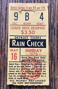 Detroit Tigers Vs Cleveland Indians Baseball Ticket Stub 5/16/1976 Vtg