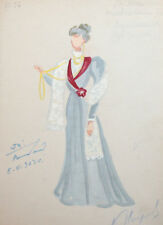 1962 Woman costume design watercolor drawing signed