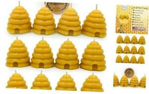 Hand Poured, 100% Pure Beeswax, Natural Beehive Candle Votives. Package 12 Pack