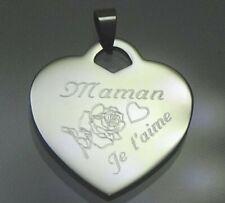 Superbe pendentif coeur acier gravé personnalisé  fête des mères maman je t'aime