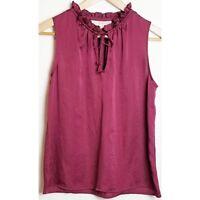 Ann Taylor LOFT women's small red sleeveless ruffle tied neckline blouse top