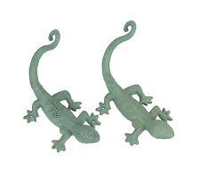 2 Verdigris Green Finish Cast Iron Gecko Lizard Wall Mount Plant Hanger Brackets