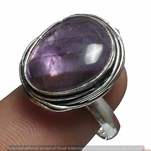 Amethyst Gemstone Ring 925 Sterling Silver Plated Ring US Size 5.5 R-2383