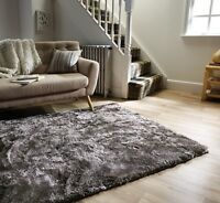 Serenity Silver Grey Metallic-Silky 4cm Pile Supersoft Rug in various sizes