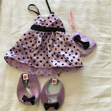 Design a bear outfit purple polka dot dress, bag and matching shoes