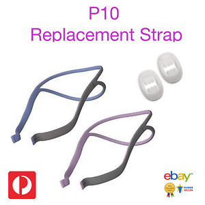 New Replacement Strap For ResMed P10 CPAP Mask - Blue or Pink + 2 Clips