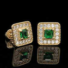 1/2CT Princess Green Emerald Created Diamond Earrings 14k Yellow Gold Screwback