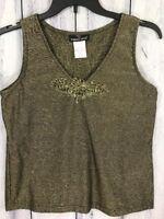 Carole Little Womens Size 8 Shirt Sleeveless Embroidered Leaf Design Gold Black