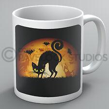 Halloween Mug Black Cat Spooky Bats Ghosts Moon Witch Pumpkin Coffee Scary Gift