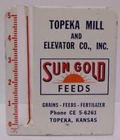 Vtg 1950s SUN GOLD FEEDS FARM ADVERTISING RAIN GAUGE TOPEKA KANSAS PHONE CE56261