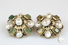 Brooches 1 Pair Antique Silver Gold Plated Baroque Emerald Beads Jewelry