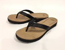 UGG LORRIE FLIP-FLOP SANDALS BLACK LEATHER -WOMEN'S US SIZE 11 -NEW