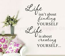 Life is Creating Yourself Wall quote Decals Vinyl Stickers Home Decor Room Art