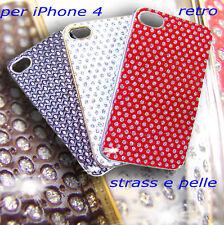 cover case custodia eco pelle con strass per iPhone 4