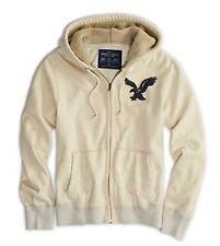 AMERICAN EAGLE Faux Sherpa FUR Lined Cream Zip Sweatshirt Hoodie Jacket  L NWT