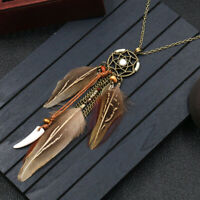 Retro Punk Feather Necklace Ethnic Dream Catcher Long Pendant Sweater Chain FY