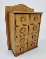 Antique Oak Wood 8 Drawer Spice Apothecary Wall Mount Cabinet Box Primitive