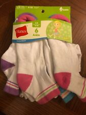 Hanes Girls EZ Sort Ankle Socks White Assorted 6-Pack