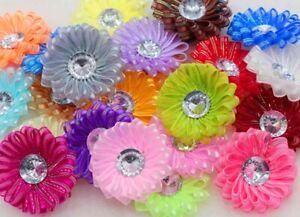 "2"" Satin Ribbon Flowers Round Organza w/Crystal Bead Appliques 20-30PCS/Lot"