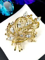 1950'S CORO PAT. PEND. GOLD-TONE FINISH CRYSTAL RHINESTONE FLORAL BOUQUET BROOCH