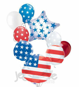 7 pc Mickey Mouse Patriotic American Flag 4th of July Balloon Bouquet Decor USA