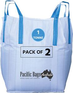 Pack of 2 - 1.0 TONNE - OPEN TOP CLOSED BOTTOM - BULK BAG - 90 X 90 X 100 CM