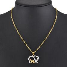 Women Elephant Crystal Rhinestones Pendant Mother Love Necklace Jewellery Gift