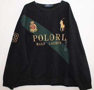 "Polo Ralph Lauren Big Tall Mens Black ""RALP"" Big Pony Crest Sweatshirt NWT 4XB"