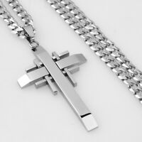 """24"""" 316L Stainless Steel Cuban Curb Chain Necklace Mens Women's Cross Pendant"""