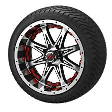 "Set 12"" Aluminum Alloy Golf Cart Car Rims Wheels & Tires Mounted Green Purple"