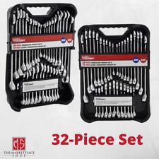 32 Piece Combination Wrench Tool Set Kit Mechanics SAE Standard Stubby NEW