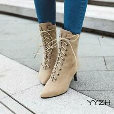 Women's Faux Suede Ankle Boots Pointed Toe Lace Up Mid Heels OL Commuting Shoes