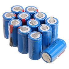 Lot 12 x Sub C SC 1.2V 1800mAh Ni-Cd NiCd Rechargeable Batteries With Tap,Blue