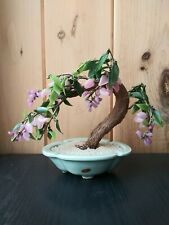 Vintage Chinese Jade Glass Bonsai Tree with Jade like Pink Flowers