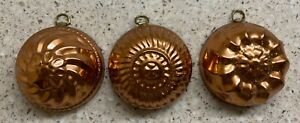 Three Miniature Vintage Copper Jello Molds