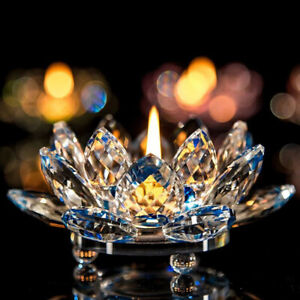 Hot Buddhist Candlestick 7 Colors Crystal Glass Lotus Flower Candle Light Holder