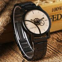 Fashion Black/Coffee Gear Dial Stainless Steel Men Women Quartz Wrist Watch Hot