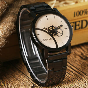 Fashion Black/Coffee Gear Dial Stainless Steel Men Women Quartz Wrist Watch Hot