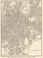 1910 Antique LOS ANGELES City Map of Los Angeles California Street Map 7810